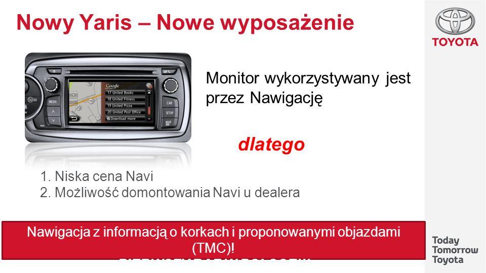 Nowy Yaris – Nowe wyposażenie 1. Niska cena Navi 2. Możliwość domontowania Navi u dealera Monitor wykorzystywany jest przez Nawigację dlatego Nawigacj