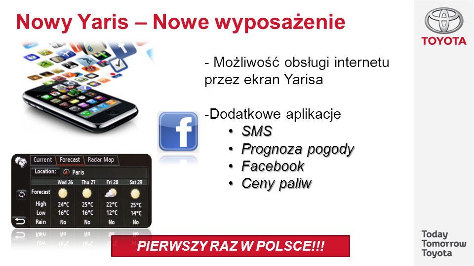 Nowy Yaris – Nowe wyposażenie - Możliwość obsługi internetu przez ekran Yarisa -Dodatkowe aplikacje SMS SMS Prognoza pogody Prognoza pogody Facebook F