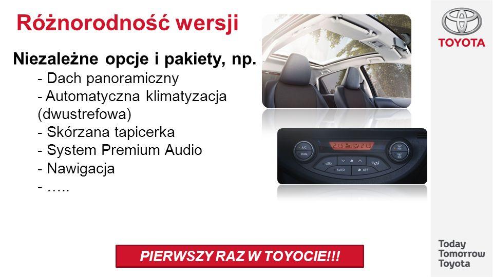 Różnorodność wersji Niezależne opcje i pakiety, np. - Dach panoramiczny - Automatyczna klimatyzacja (dwustrefowa) - Skórzana tapicerka - System Premiu