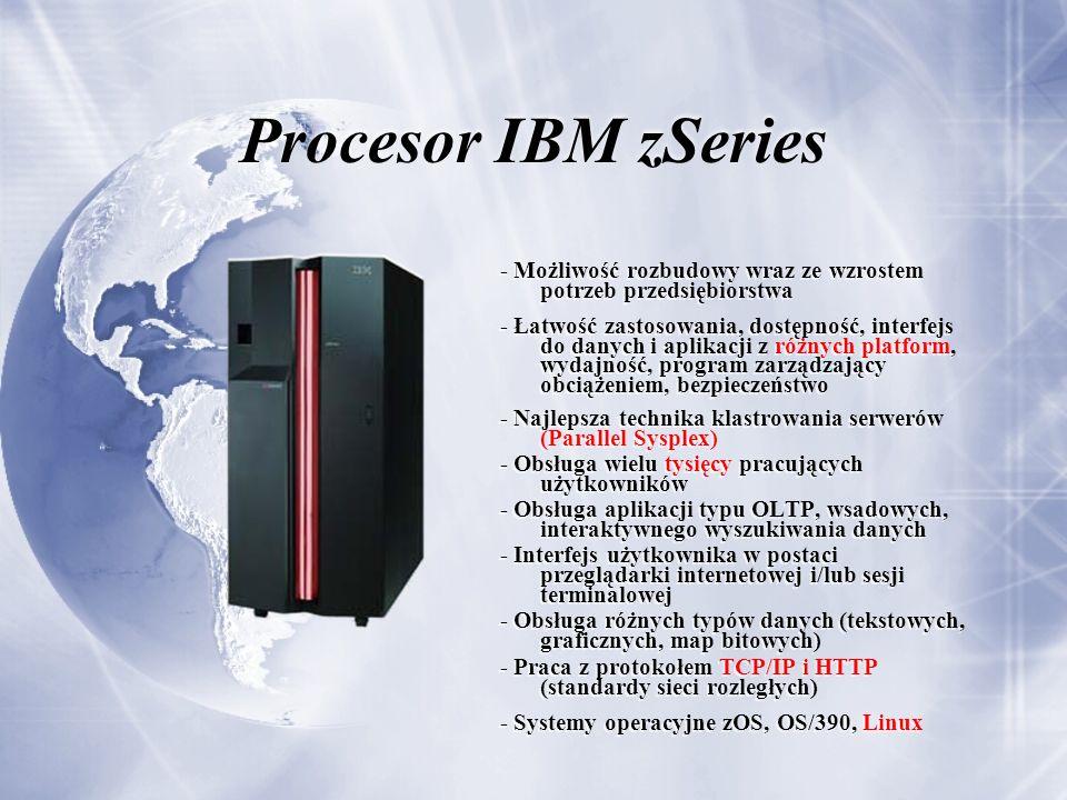 Procesor IBM zSeries - Możliwość rozbudowy wraz ze wzrostem potrzeb przedsiębiorstwa - Łatwość zastosowania, dostępność, interfejs do danych i aplikacji z różnych platform, wydajność, program zarządzający obciążeniem, bezpieczeństwo - Najlepsza technika klastrowania serwerów (Parallel Sysplex) - Obsługa wielu tysięcy pracujących użytkowników - Obsługa aplikacji typu OLTP, wsadowych, interaktywnego wyszukiwania danych - Interfejs użytkownika w postaci przeglądarki internetowej i/lub sesji terminalowej - Obsługa różnych typów danych (tekstowych, graficznych, map bitowych) - Praca z protokołem TCP/IP i HTTP (standardy sieci rozległych) - Systemy operacyjne zOS, OS/390, Linux - Możliwość rozbudowy wraz ze wzrostem potrzeb przedsiębiorstwa - Łatwość zastosowania, dostępność, interfejs do danych i aplikacji z różnych platform, wydajność, program zarządzający obciążeniem, bezpieczeństwo - Najlepsza technika klastrowania serwerów (Parallel Sysplex) - Obsługa wielu tysięcy pracujących użytkowników - Obsługa aplikacji typu OLTP, wsadowych, interaktywnego wyszukiwania danych - Interfejs użytkownika w postaci przeglądarki internetowej i/lub sesji terminalowej - Obsługa różnych typów danych (tekstowych, graficznych, map bitowych) - Praca z protokołem TCP/IP i HTTP (standardy sieci rozległych) - Systemy operacyjne zOS, OS/390, Linux