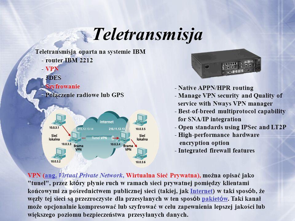 Teletransmisja Teletransmisja oparta na systemie IBM - router IBM 2212 - VPN - 3DES - Szyfrowanie - Połączenie radiowe lub GPS VPN (ang. Virtual Priva