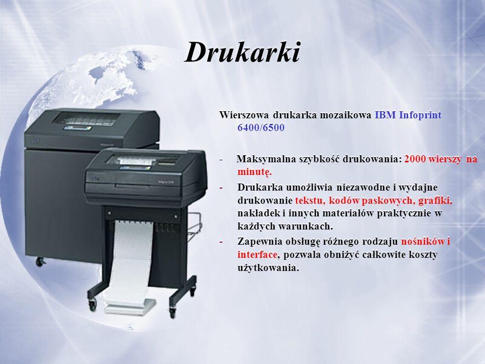 Drukarki Wierszowa drukarka mozaikowa IBM Infoprint 6400/6500 - Maksymalna szybkość drukowania: 2000 wierszy na minutę.
