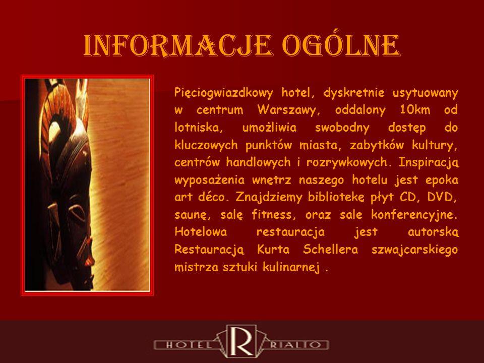 INFORMACJE OGÓLNE Pięciogwiazdkowy hotel, dyskretnie usytuowany w centrum Warszawy, oddalony 10km od lotniska, umożliwia swobodny dostęp do kluczowych punktów miasta, zabytków kultury, centrów handlowych i rozrywkowych.