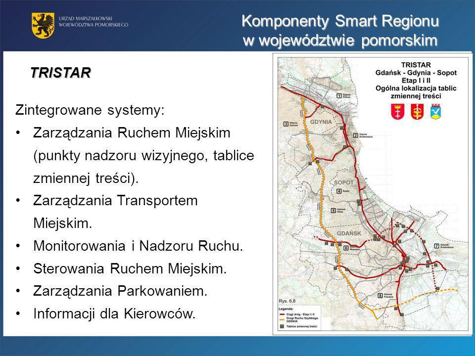 Komponenty Smart Regionu w województwie pomorskim Zintegrowane systemy: Zarządzania Ruchem Miejskim (punkty nadzoru wizyjnego, tablice zmiennej treści