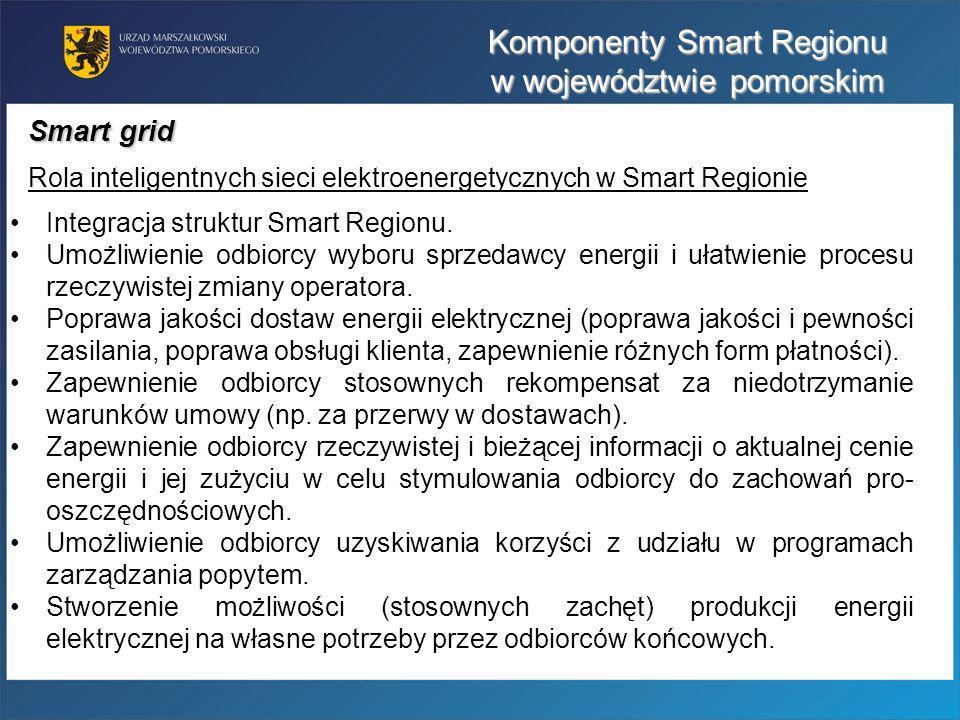Komponenty Smart Regionu w województwie pomorskim Integracja struktur Smart Regionu. Umożliwienie odbiorcy wyboru sprzedawcy energii i ułatwienie proc