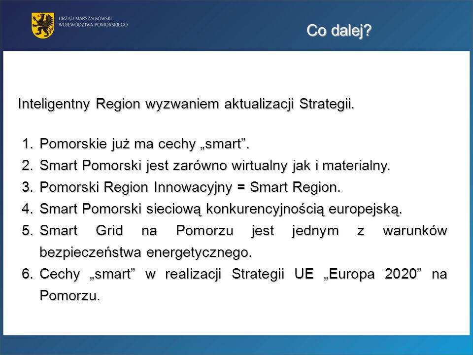 Co dalej? Inteligentny Region wyzwaniem aktualizacji Strategii. 1.Pomorskie już ma cechy smart. 2.Smart Pomorski jest zarówno wirtualny jak i material