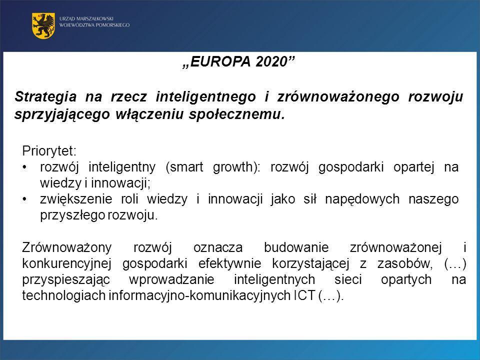 Priorytet: rozwój inteligentny (smart growth): rozwój gospodarki opartej na wiedzy i innowacji; zwiększenie roli wiedzy i innowacji jako sił napędowyc