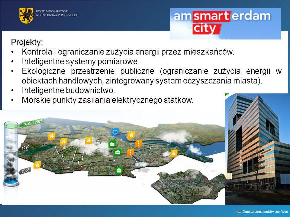 http://amsterdamsmartcity.com/#/en Projekty: Kontrola i ograniczanie zużycia energii przez mieszkańców. Inteligentne systemy pomiarowe. Ekologiczne pr
