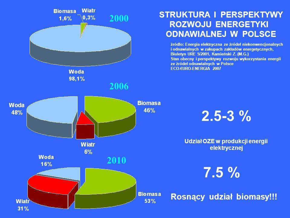 2000 2010 2006 źródło: Energia elektryczna ze źródeł niekonwencjonalnych i odnawialnych w zakupach zakładów energetycznych, Biuletyn URE 5/2001, Kamieński Z.