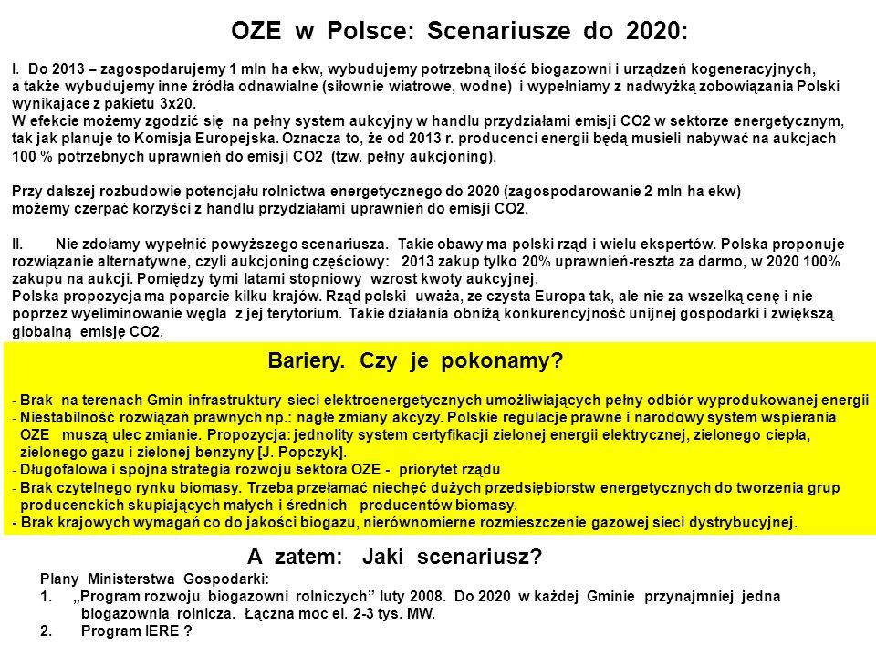 OZE w Polsce: Scenariusze do 2020: I.