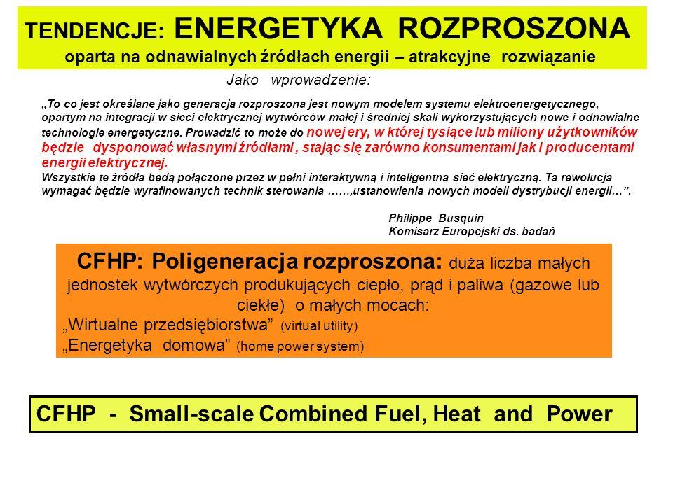 TENDENCJE: ENERGETYKA ROZPROSZONA oparta na odnawialnych źródłach energii – atrakcyjne rozwiązanie To co jest określane jako generacja rozproszona jest nowym modelem systemu elektroenergetycznego, opartym na integracji w sieci elektrycznej wytwórców małej i średniej skali wykorzystujących nowe i odnawialne technologie energetyczne.