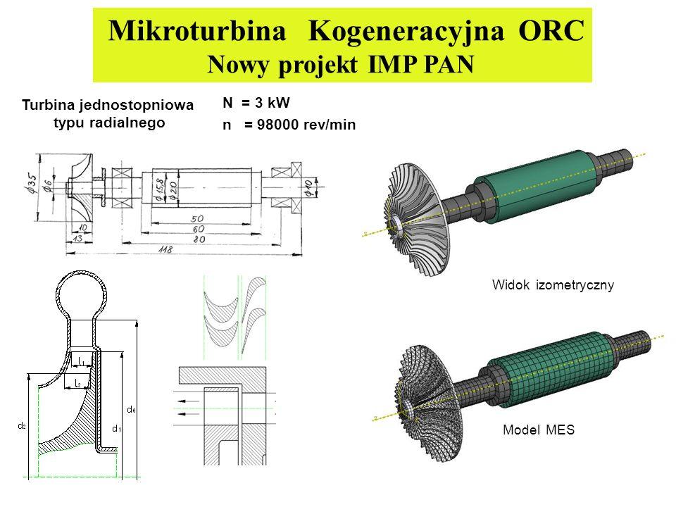 Turbina jednostopniowa typu radialnego N = 3 kW n = 98000 rev/min Mikroturbina Kogeneracyjna ORC Nowy projekt IMP PAN Widok izometryczny Model MES
