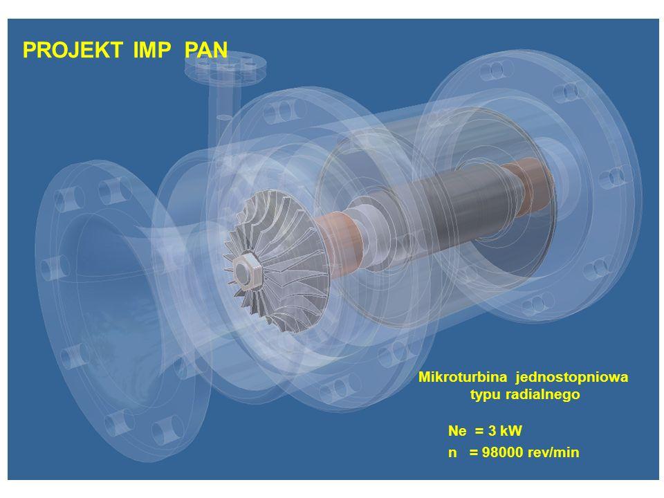 PROJEKT IMP PAN Mikroturbina jednostopniowa typu radialnego Ne = 3 kW n = 98000 rev/min