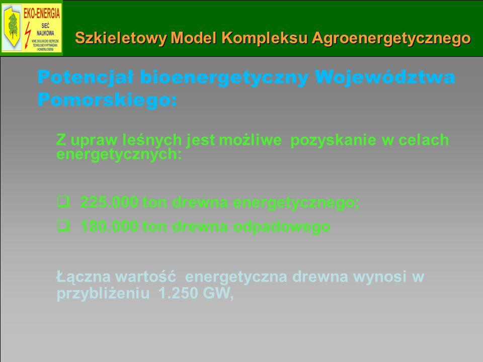 Instytut Maszyn Przepływowych PAN w Gdańsku 63 Szkieletowy Model Kompleksu Agroenergetycznego Potencjał bioenergetyczny Województwa Pomorskiego: Z upraw leśnych jest możliwe pozyskanie w celach energetycznych: 225.000 ton drewna energetycznego; 180.000 ton drewna odpadowego Łączna wartość energetyczna drewna wynosi w przybliżeniu 1.250 GW,