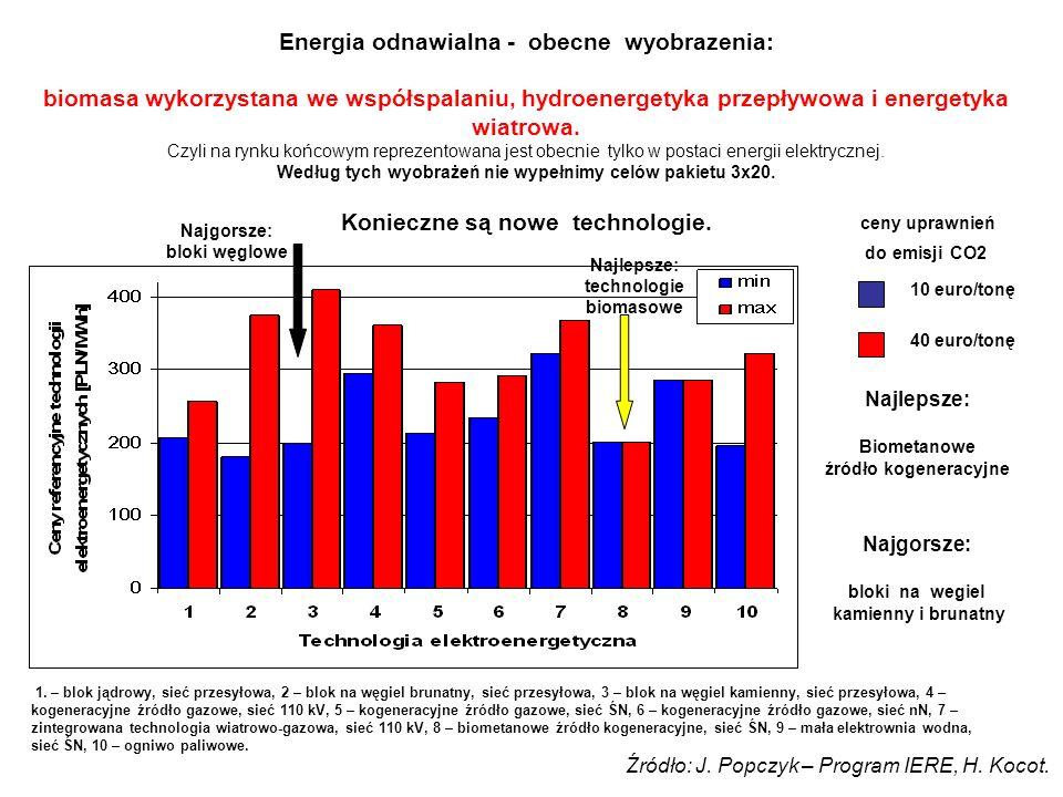 Energia odnawialna - obecne wyobrazenia: biomasa wykorzystana we współspalaniu, hydroenergetyka przepływowa i energetyka wiatrowa.