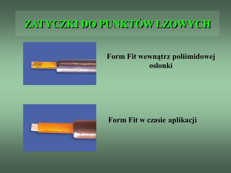 ZATYCZKI DO PUNKTÓW ŁZOWYCH Form Fit wewnątrz poliimidowej osłonki Form Fit w czasie aplikacji