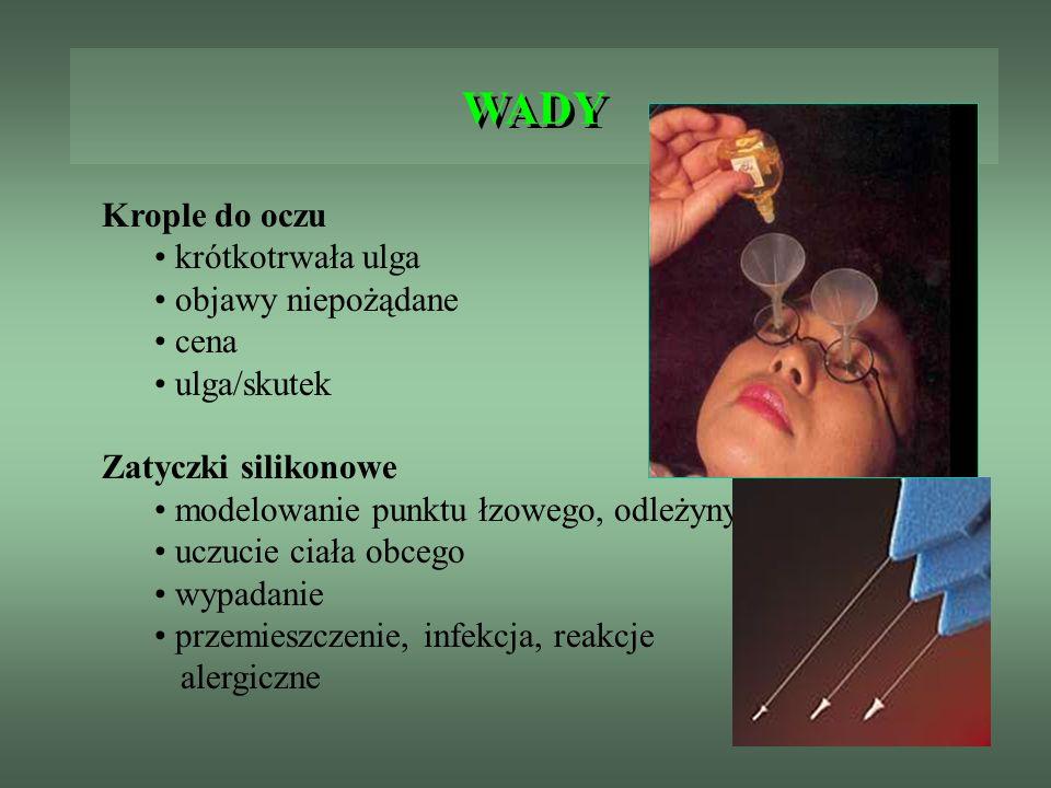 ZATYCZKI DO PUNKTÓW ŁZOWYCH Zatyczki hydrożelowe Form Fit- zbudowane z materiału które pod wpływem łez rozszerza się kanaliku łzowym powodując trwała okluzję