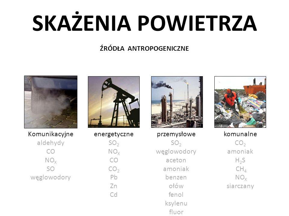 SKAŻENIA POWIETRZA SZKODLIWE ZWIĄZKI CHEMICZNE tlenki azotu związki siarki tlenek węgla metale ciężkie głównie kadm (Cd), ołów (Pb), rtęć (Hg) wielopierścieniowe węglowodory aromatyczne (WWA) formaldehyd fluorowodór ozon aerozole pyły freony i in.