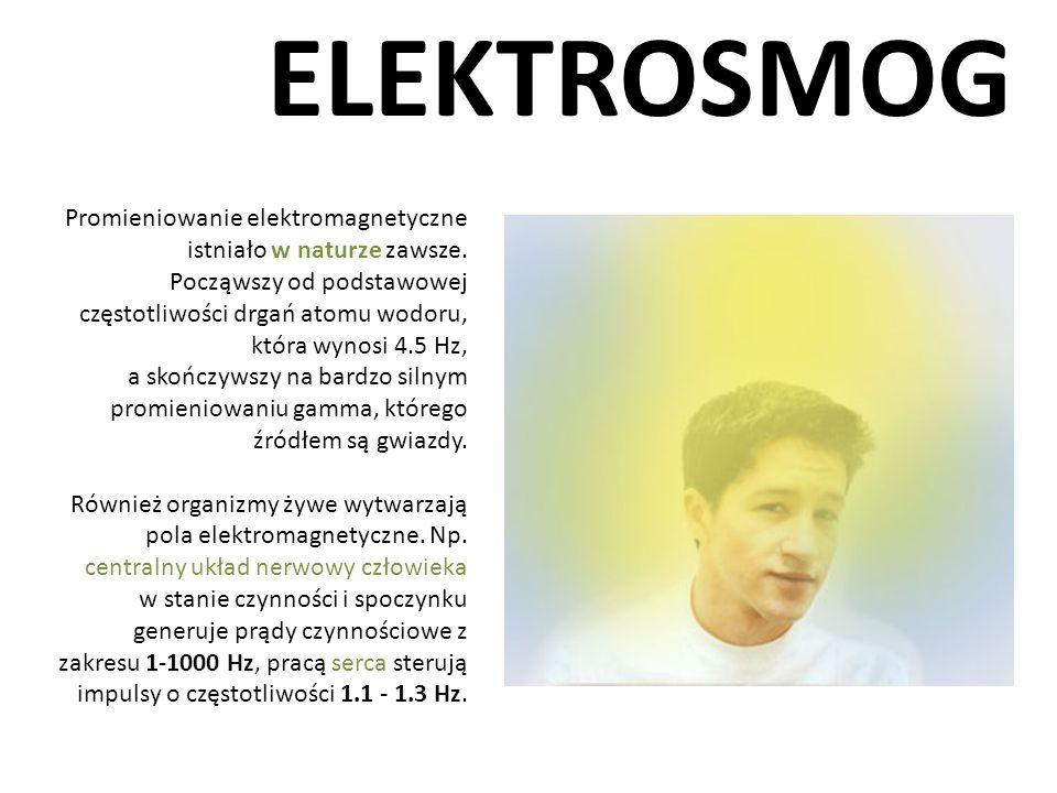 ELEKTROSMOG Promieniowanie elektromagnetyczne istniało w naturze zawsze. Począwszy od podstawowej częstotliwości drgań atomu wodoru, która wynosi 4.5