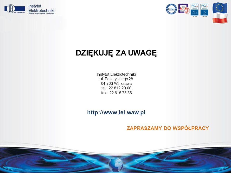 DZIĘKUJĘ ZA UWAGĘ Instytut Elektrotechniki ul. Pożaryskiego 28 04-703 Warszawa tel.: 22 812 20 00 fax: 22 615 75 35 http://www.iel.waw.pl ZAPRASZAMY D