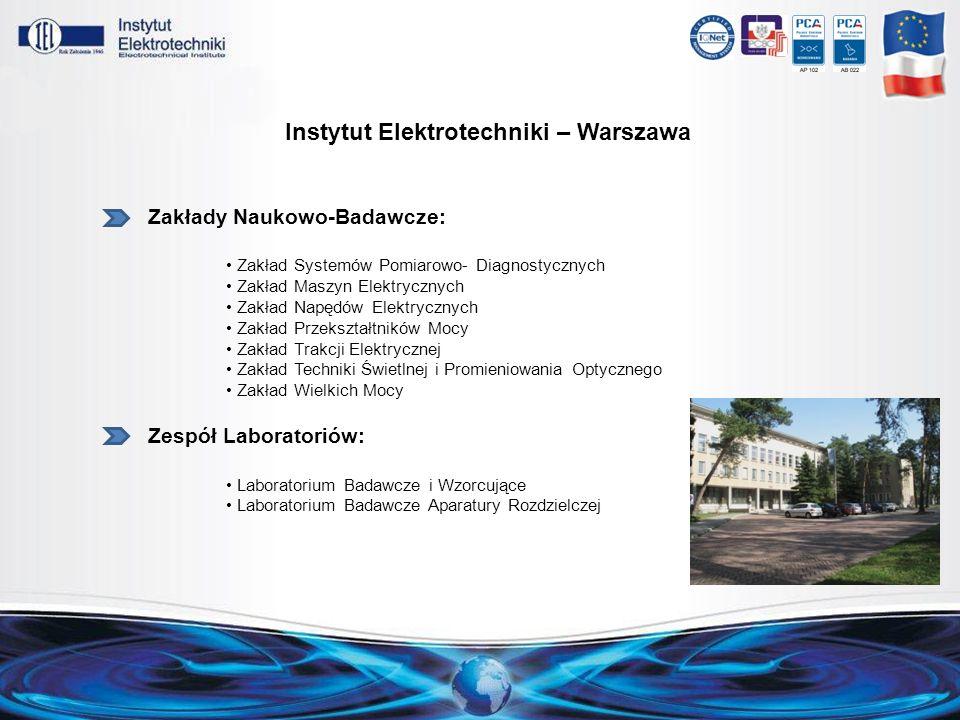 Instytut Elektrotechniki – Warszawa Zakłady Naukowo-Badawcze: Zakład Systemów Pomiarowo- Diagnostycznych Zakład Maszyn Elektrycznych Zakład Napędów El