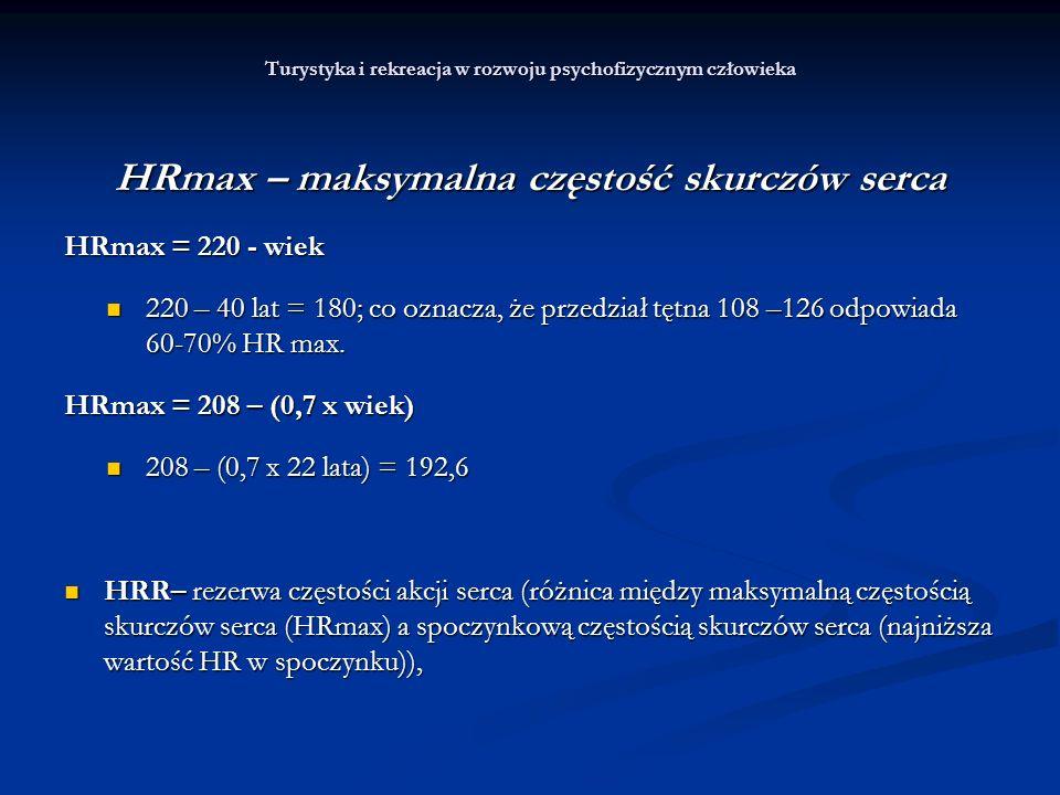 Turystyka i rekreacja w rozwoju psychofizycznym człowieka HRmax – maksymalna częstość skurczów serca HRmax = 220 - wiek 220 – 40 lat = 180; co oznacza
