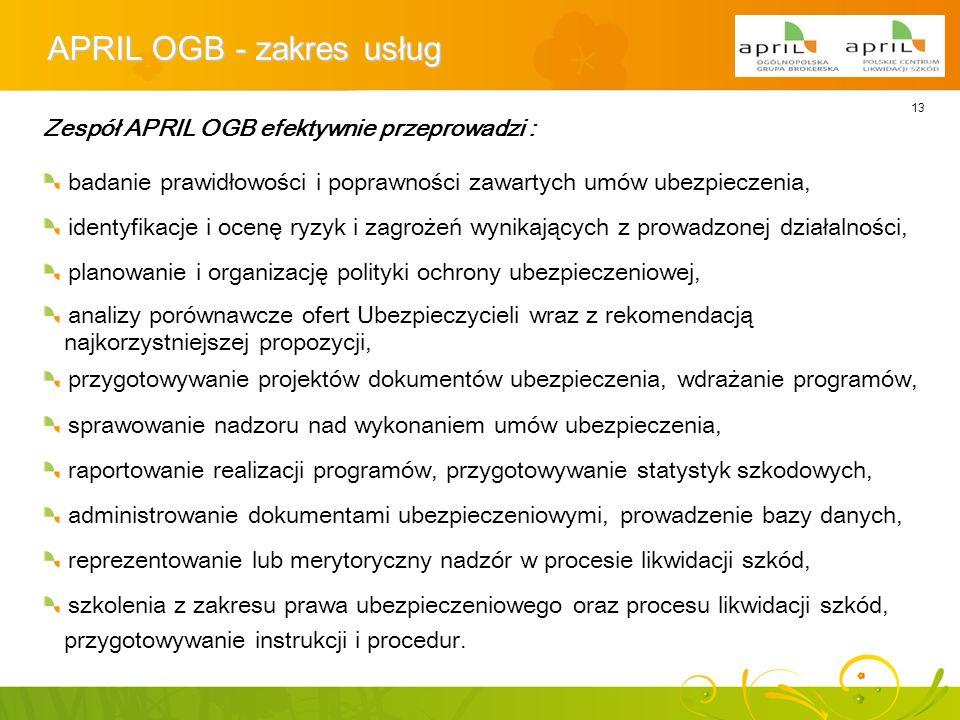 13 APRIL OGB - zakres usług Zespół APRIL OGB efektywnie przeprowadzi : badanie prawidłowości i poprawności zawartych umów ubezpieczenia, identyfikacje