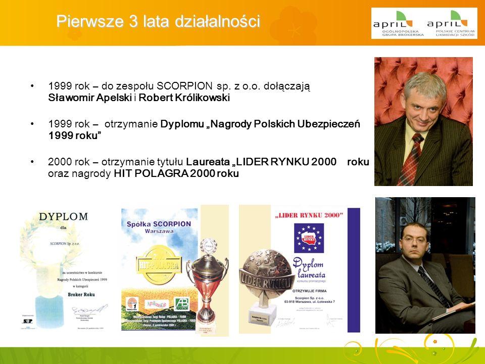1999 rok – do zespołu SCORPION sp. z o.o. dołączają Sławomir Apelski i Robert Królikowski Pierwsze 3 lata działalności 2000 rok – otrzymanie tytułu La