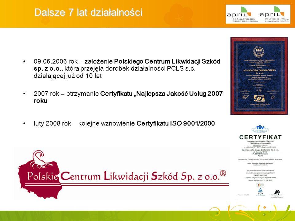 Dalsze 7 lat działalności 09.06.2006 rok – założenie Polskiego Centrum Likwidacji Szkód sp. z o.o., która przejęła dorobek działalności PCLS s.c. dzia