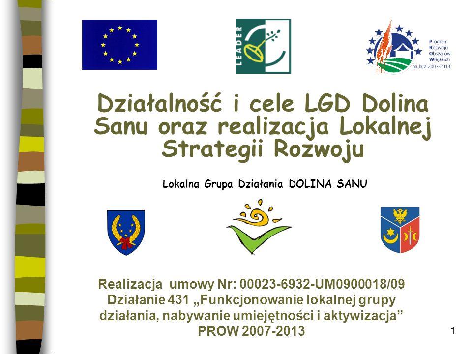 Realizacja misji LGD Dolina Sanu Aktywizacja społeczności lokalnej w kierunku rozwoju obszarów wiejskich (integracja społeczności lokalnej, budowa wspólnej tożsamości), Budowa silnej marki LGD w celu wykorzystania jej potencjału.