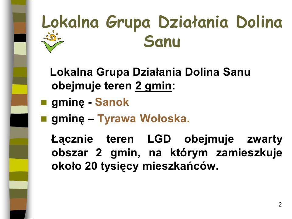 3 LGD DOLINA SANU Stowarzyszenie prowadzi działalność jako Lokalna Grupa Działania (LGD), stanowiąca formę współpracy partnerów z sektora administracji publicznej, sektora organizacji pozarządowych i sektora gospodarczego.