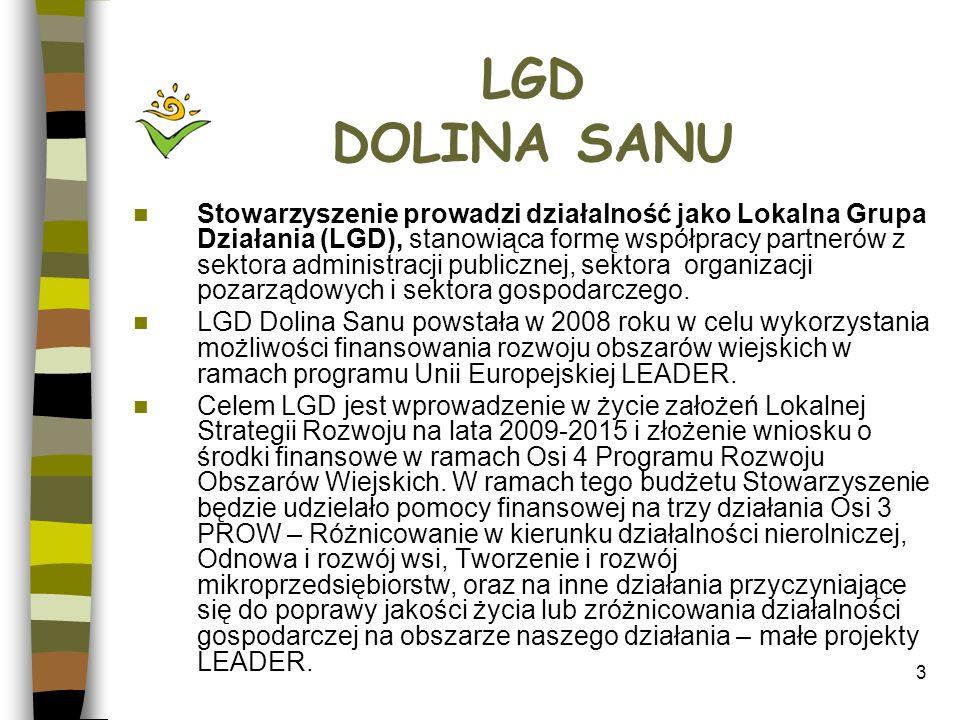 4 Cele - Statut LGD Dolina Sanu Celem Stowarzyszenia jako Lokalnej Grupy Działania jest: 1.