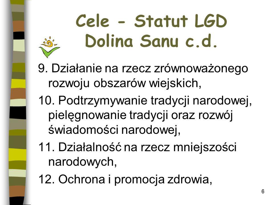 Cele - Statut LGD Dolina Sanu c.d.13. Działalność na rzecz osób niepełnosprawnych, 14.