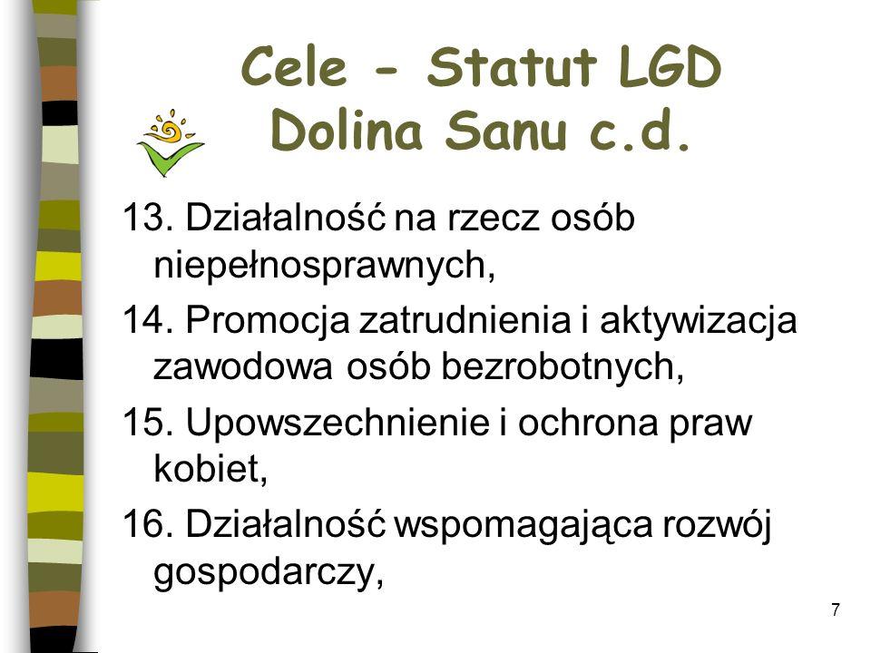 Cele - Statut LGD Dolina Sanu c.d.17. Wspieranie rozwoju nauki, 18.