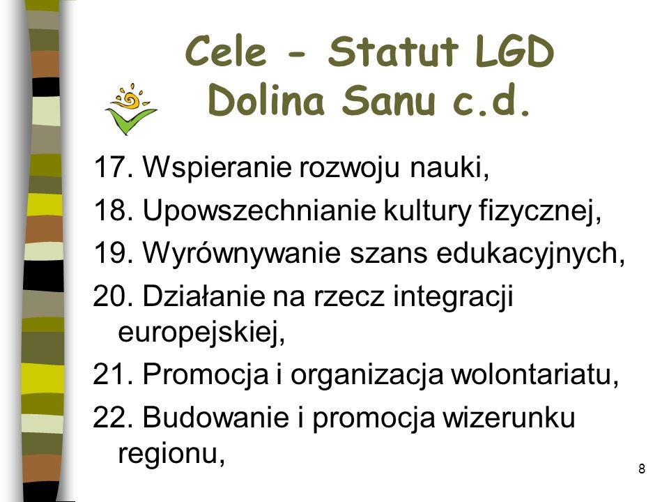 Cele - Statut LGD Dolina Sanu c.d.23. Wspieranie i rozwój społeczeństwa obywatelskiego, 24.
