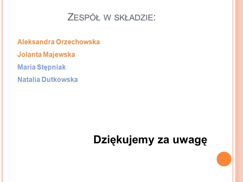 Aleksandra Orzechowska Jolanta Majewska Maria Stępniak Natalia Dutkowska Dziękujemy za uwagę Z ESPÓŁ W SKŁADZIE :