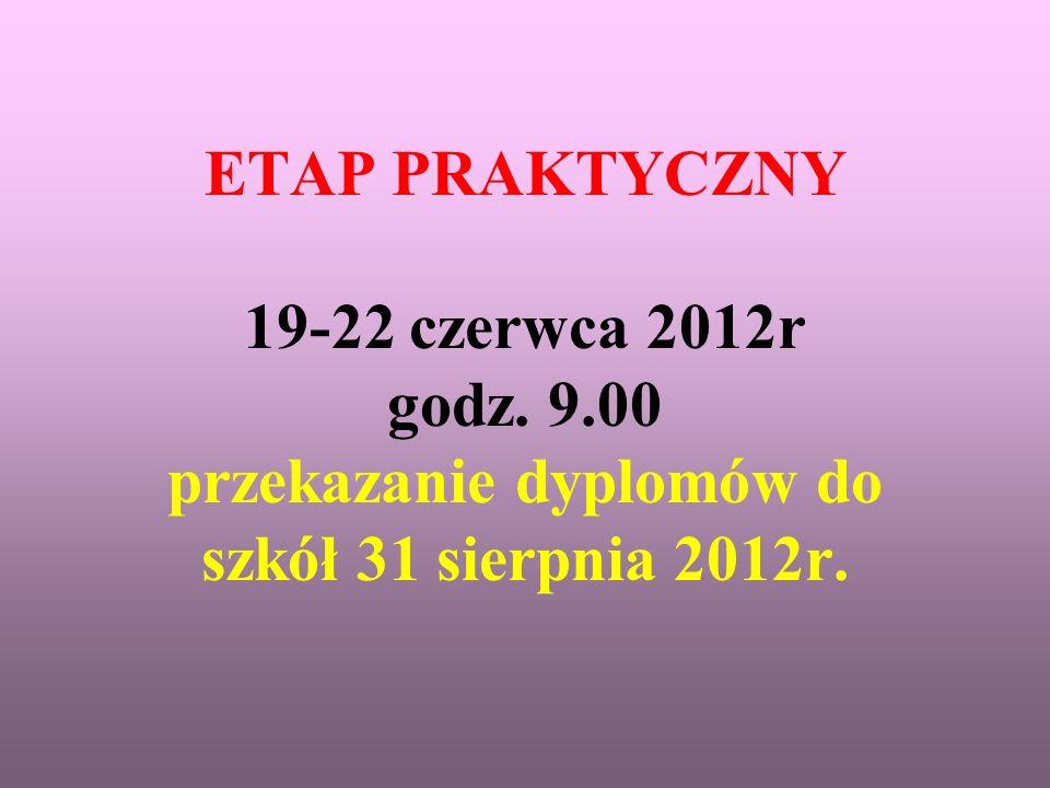 ETAP PRAKTYCZNY 19-22 czerwca 2012r godz. 9.00 przekazanie dyplomów do szkół 31 sierpnia 2012r.