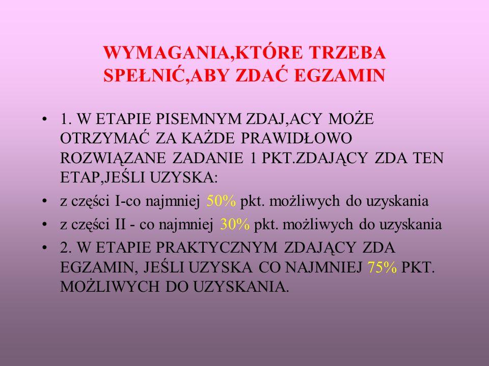 WYMAGANIA,KTÓRE TRZEBA SPEŁNIĆ,ABY ZDAĆ EGZAMIN 1.