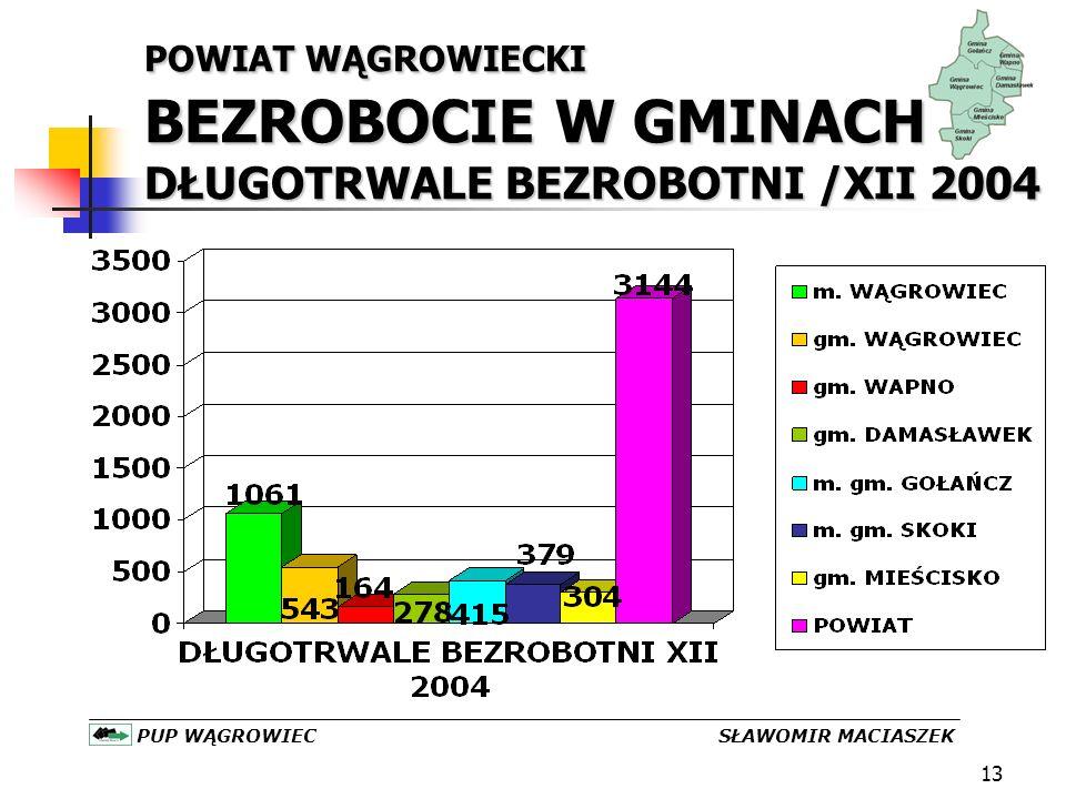 13 PUP WĄGROWIEC SŁAWOMIR MACIASZEK POWIAT WĄGROWIECKI BEZROBOCIE W GMINACH DŁUGOTRWALE BEZROBOTNI /XII 2004