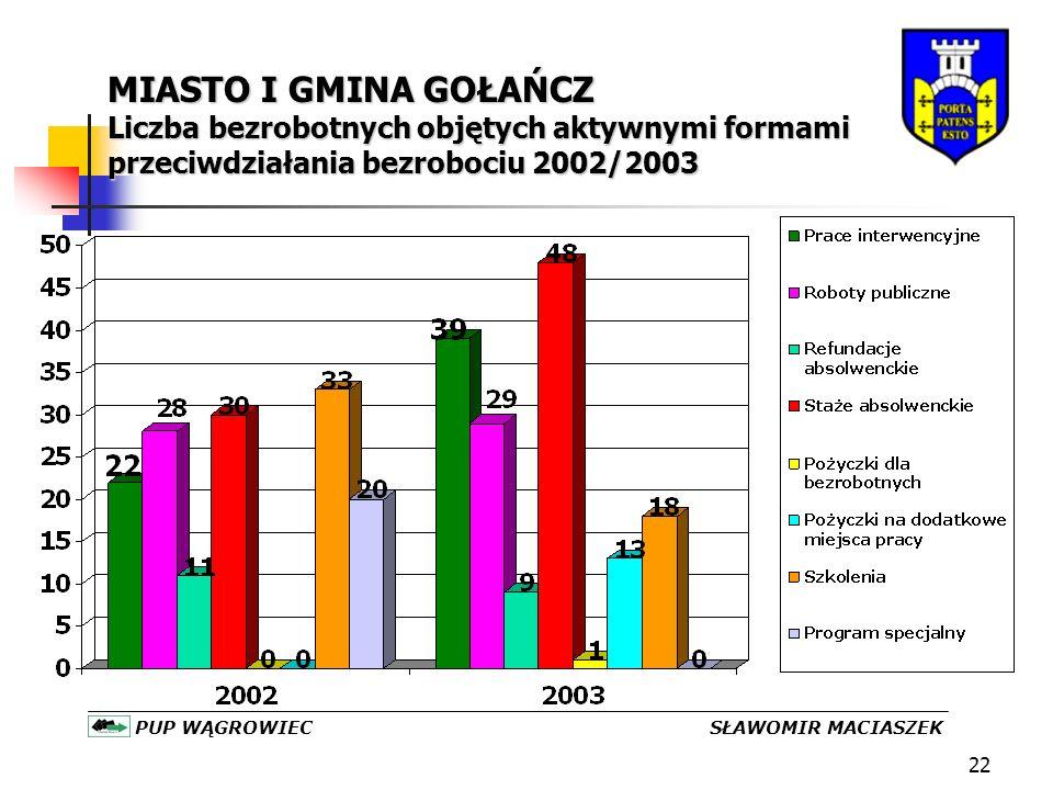 22 MIASTO I GMINA GOŁAŃCZ Liczba bezrobotnych objętych aktywnymi formami przeciwdziałania bezrobociu 2002/2003 PUP WĄGROWIEC SŁAWOMIR MACIASZEK