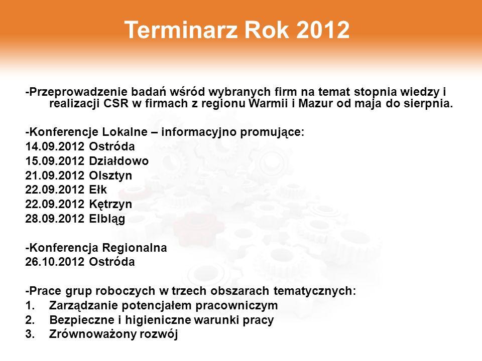 Terminarz Rok 2012 -Przeprowadzenie badań wśród wybranych firm na temat stopnia wiedzy i realizacji CSR w firmach z regionu Warmii i Mazur od maja do sierpnia.