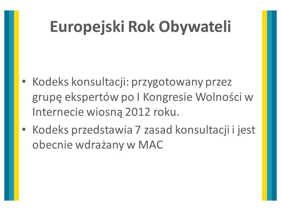 Europejski Rok Obywateli Kodeks konsultacji: przygotowany przez grupę ekspertów po I Kongresie Wolności w Internecie wiosną 2012 roku. Kodeks przedsta