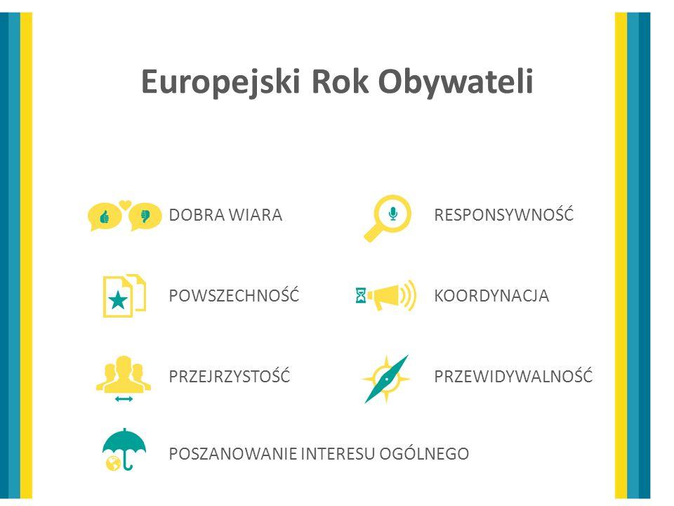 Europejski Rok Obywateli DOBRA WIARA POWSZECHNOŚĆ PRZEJRZYSTOŚĆ RESPONSYWNOŚĆ KOORDYNACJA PRZEWIDYWALNOŚĆ POSZANOWANIE INTERESU OGÓLNEGO