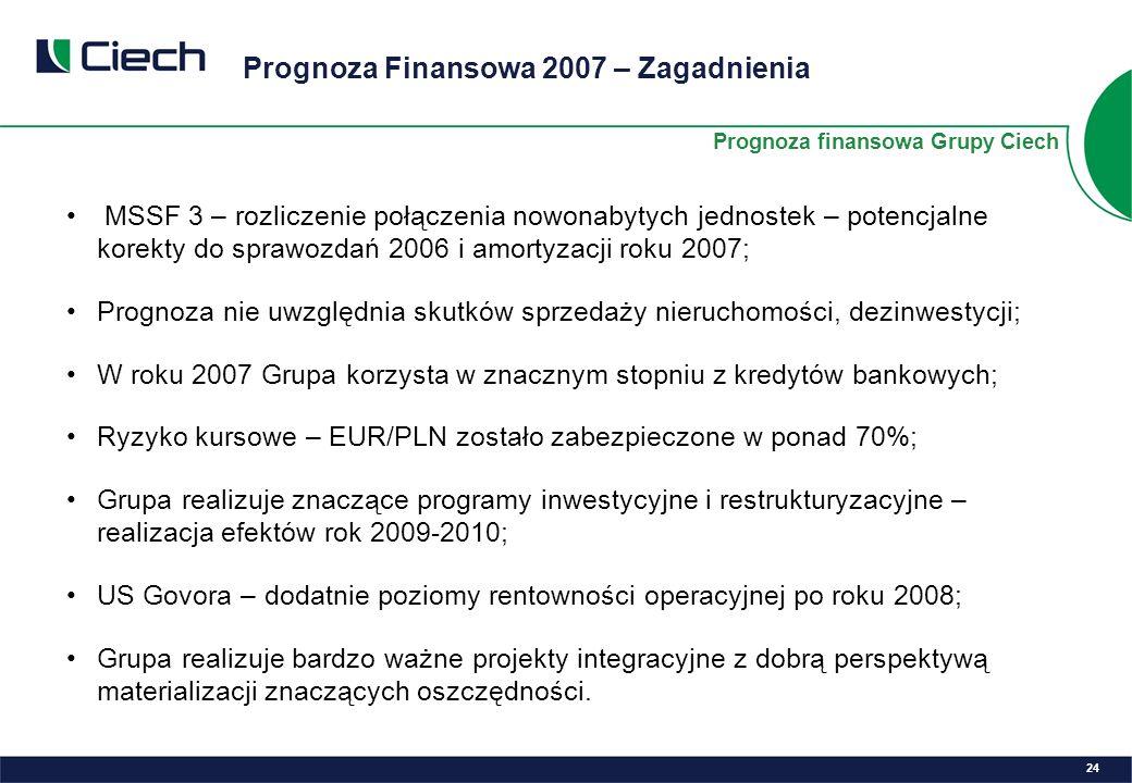 Prognoza Finansowa 2007 – Zagadnienia 24 MSSF 3 – rozliczenie połączenia nowonabytych jednostek – potencjalne korekty do sprawozdań 2006 i amortyzacji roku 2007; Prognoza nie uwzględnia skutków sprzedaży nieruchomości, dezinwestycji; W roku 2007 Grupa korzysta w znacznym stopniu z kredytów bankowych; Ryzyko kursowe – EUR/PLN zostało zabezpieczone w ponad 70%; Grupa realizuje znaczące programy inwestycyjne i restrukturyzacyjne – realizacja efektów rok 2009-2010; US Govora – dodatnie poziomy rentowności operacyjnej po roku 2008; Grupa realizuje bardzo ważne projekty integracyjne z dobrą perspektywą materializacji znaczących oszczędności.