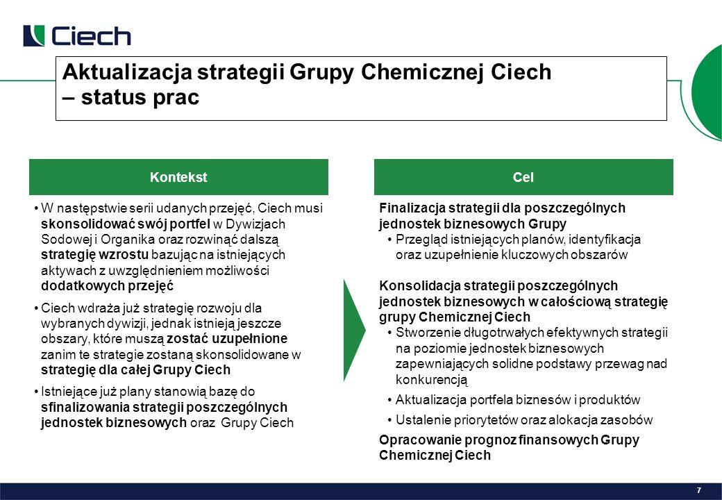 Aktualizacja strategii Grupy Chemicznej Ciech – status prac Kontekst W następstwie serii udanych przejęć, Ciech musi skonsolidować swój portfel w Dywizjach Sodowej i Organika oraz rozwinąć dalszą strategię wzrostu bazując na istniejących aktywach z uwzględnieniem możliwości dodatkowych przejęć Ciech wdraża już strategię rozwoju dla wybranych dywizji, jednak istnieją jeszcze obszary, które muszą zostać uzupełnione zanim te strategie zostaną skonsolidowane w strategię dla całej Grupy Ciech Istniejące już plany stanowią bazę do sfinalizowania strategii poszczególnych jednostek biznesowych oraz Grupy Ciech Cel Finalizacja strategii dla poszczególnych jednostek biznesowych Grupy Przegląd istniejących planów, identyfikacja oraz uzupełnienie kluczowych obszarów Konsolidacja strategii poszczególnych jednostek biznesowych w całościową strategię grupy Chemicznej Ciech Stworzenie długotrwałych efektywnych strategii na poziomie jednostek biznesowych zapewniających solidne podstawy przewag nad konkurencją Aktualizacja portfela biznesów i produktów Ustalenie priorytetów oraz alokacja zasobów Opracowanie prognoz finansowych Grupy Chemicznej Ciech 7