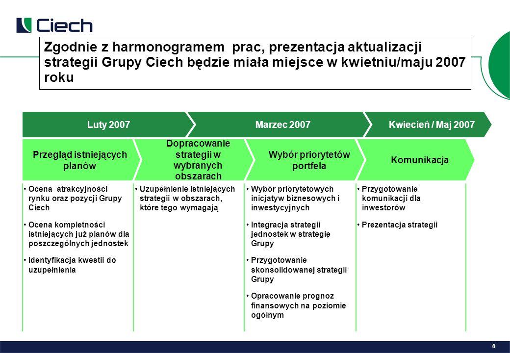 Zgodnie z harmonogramem prac, prezentacja aktualizacji strategii Grupy Ciech będzie miała miejsce w kwietniu/maju 2007 roku Komunikacja Przegląd istniejących planów Dopracowanie strategii w wybranych obszarach Wybór priorytetów portfela Ocena atrakcyjności rynku oraz pozycji Grupy Ciech Ocena kompletności istniejących już planów dla poszczególnych jednostek Identyfikacja kwestii do uzupełnienia Uzupełnienie istniejących strategii w obszarach, które tego wymagają Wybór priorytetowych inicjatyw biznesowych i inwestycyjnych Integracja strategii jednostek w strategię Grupy Przygotowanie skonsolidowanej strategii Grupy Opracowanie prognoz finansowych na poziomie ogólnym Przygotowanie komunikacji dla inwestorów Prezentacja strategii Luty 2007Marzec 2007Kwiecień / Maj 2007 8