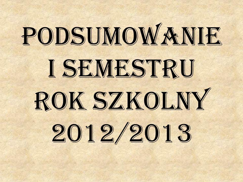 Podsumowanie I semestru rok szkolny 2012/2013