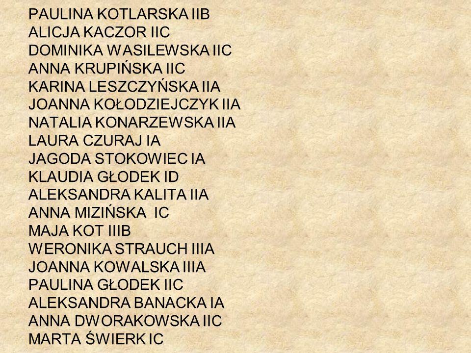 PAULINA KOTLARSKA IIB ALICJA KACZOR IIC DOMINIKA WASILEWSKA IIC ANNA KRUPIŃSKA IIC KARINA LESZCZYŃSKA IIA JOANNA KOŁODZIEJCZYK IIA NATALIA KONARZEWSKA
