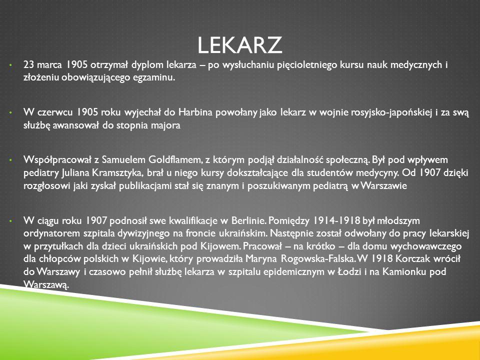 JANUSZ - OPIEKUN W 1911 roku Janusz Korczak podjął decyzję, że nie założy rodziny.