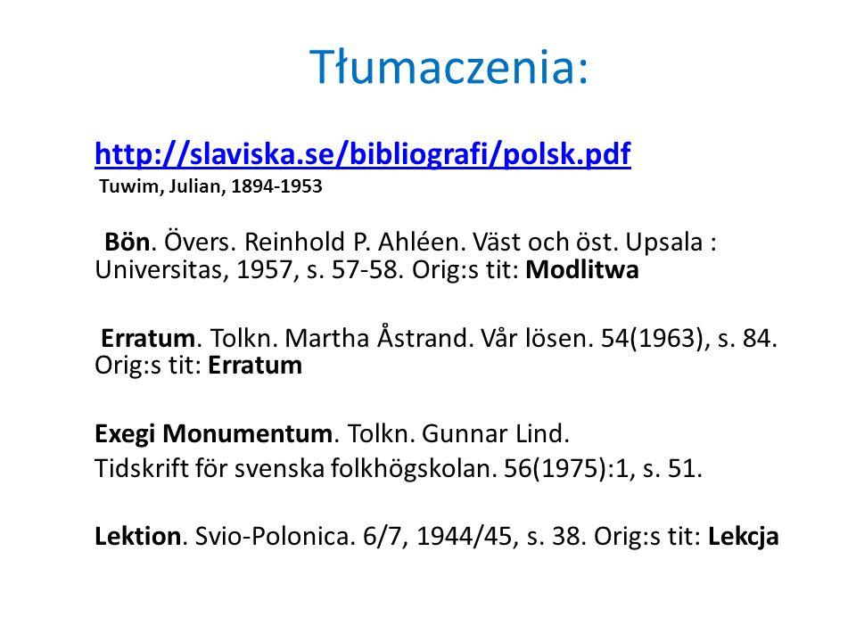 Tłumaczenia: http://slaviska.se/bibliografi/polsk.pdf Tuwim, Julian, 1894-1953 Bön. Övers. Reinhold P. Ahléen. Väst och öst. Upsala : Universitas, 195